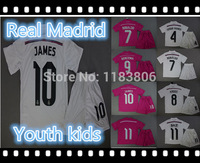 Ronaldo Bale Kroos Isco James Modric Alonso Benzema Di maria Ramos 2014-15 Real Madrid youth kids child boys soccer uniform kids