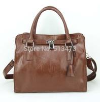 H030(brown)Fashion vintage women handbag,Two function,pu leather bag&shoulder straps,12 different colors,31x25cm,Free shipping!