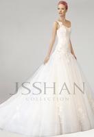 2015 One Shoulder Flowers Ruching Appliques Floral Design Elegant Gorgeous Luxury Unique Long Bridal Wedding Gown Bridal Dresses