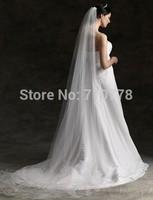 280cm Bridal Veils Elegant Wedding Accessories Dress Bride Cathedral Chapel two-layer