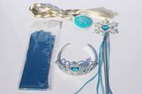 Free shipping 4pcs/lot princess elsa cosplay Rhinestone  crown magic wand beautiful braid gloves set best gift for girl