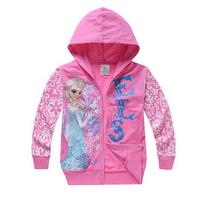 Free Shipping NWT 2-8Y Children Girls Frozen Queen Elsa Anna Cotton Autumn Pullover Hoodies Frozen Long Sleeve Girl's Hoodies