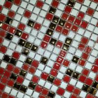 [Mius Art Mosaic]  Red & white ceramic mosaic  for kitchen backsplash B7007