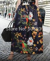 New Arriving Hot Selling Popular Bird Flower Print High Waist Skirt High Quality
