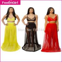 2015 Hot Dresses In Red Yellow Black Mesh Maxi Dress See Through Vestidos Elegant Strapless Dress For Women
