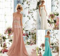 Cheap vestido de noite longo Sweetheart Rhinestones With Sequins Ruffle Chiffon Long Prom Dresses