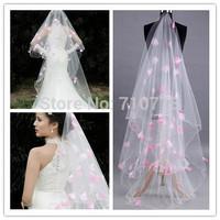 280cm ivory color pink petal flower Bridal Veils Elegant Wedding Accessories Dress Bride Cathedral Chapel