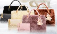Fashion Women PU Leather Ribbit Hair Fur Handbag Hobo Tote Shoulder Bag in Bag