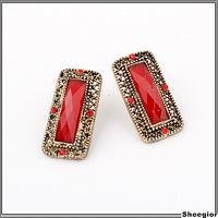 Vintage Retro Costume earrings Jewelry Red stone Square Stud earrings women Cheap earrings jewelry