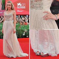 US6 Fashion Spaghetti Straps Crystal Beadings Sliver Sequined Ivory Tulle A Line Long Sexy Celebrity Evening Prom Dress