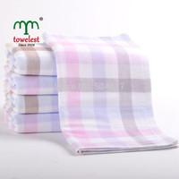 New 2014  Brand Towel Promotion -1PC/Lot 100%Cotton Gauze Plaid Towel Hand Towels Adult Towels Bathroom Face Washcloths 010022