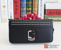 New arrival pu long cross design pattern three-fold wallet bag rivets female brands gs card free shipping HAVE LOGO