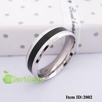 Men Stainless Steel Silver Black Ring Item ID:2002 1 pcs