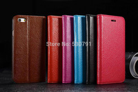 2014 new arrive 50 pcs simple style cow leather HAND CASE cow Leather Wallet Case for Apple iPhone 6 case IPHONE6 4.7 inch