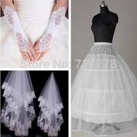 2014 Bridal Veils 3 pcs Set Elegant Wedding Accessories Dress Bride Cathedral Chapel
