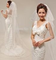 270x140cm three-layer pearl Bridal Veils Elegant Wedding Accessories Dress Bride Cathedral Chapel white veil
