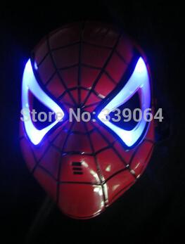 Presente de ano novo decoração de natal LED luz de incandescência brinquedos para meninos homem de ferro super herói homem aranha máscara do homem aranha brinquedos infantis brinquedos(China (Mainland))