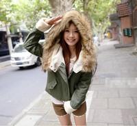 New Fashion Women's Ladies Winter Warm Thick Long Sleeve Faux Fur Hooded Zipper Fleece Jacket Coat Parka Outwear SV16 CB030424