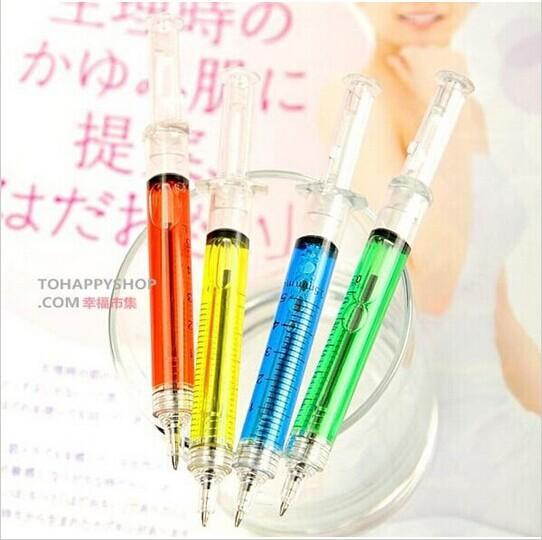 5pcs Novelty Liquid Syringe Ballpoint Pen Medical Hospital Stationery Blue Ink Needle Tube Writing Ball Point Syringe Pen(China (Mainland))