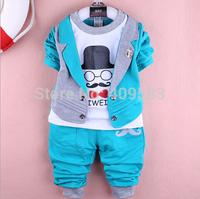 Blue Mustache S M L XL Infant Baby Boy Clothing Coveralls+Coat Wear Set HD1014 Fashion Indoor/Outdoor Autumn Child Bobysuit