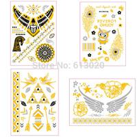 16Pcs/lot Metallic Temporary Tattoos, Flash Tattoo Gold Silver Tattoo