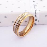 Men Stainless Steel Gold Ring Item ID:2040 1 pcs