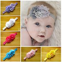 Free Shipping 12pcs/ lot 2014  rhinestone flower headband baby girl Shabby flower hair accessories girl hairaccessories