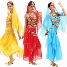 Coin Belly Dance Costume Bollywood Costume vestido indiano vestido de dança do ventre dança do ventre das mulheres Costume define 4 pçs/set 12 cores(China (Mainland))