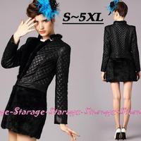 S-5XL Brand Ladies Rabbit Fur & PU leather Patchwork Thick Jacket Coat 2014 Plus Size Women Diamond Pattern Outerwear G280