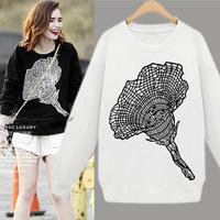 Fashion Euro Style Autumn Tops Women Cotton Long Sleeve Casual  Sweatershirt  Black/ White Flower Print Pullover 2014Autumn