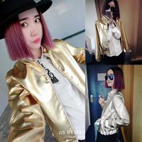 2014 Autumn fashion high quality gold silver color sports baseball uniform short outerwear top women coat jacket CL138