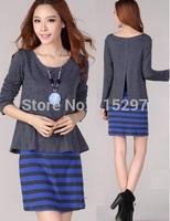 fashion women big size cotton long sleeve dress faux two stripe split ends back one-piece dress loose slim elegant spring autumn