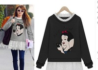 2014 Hitz large yard plus fertilizer thick loose sweater embroidered waist printing fake two dress 1284