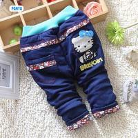 4pc/lot girls jeans winter baby heart trousers padded kids pants thicken children pants wholesale PANYA DYF90