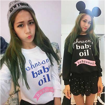 2014 Fashion Women Loose Baby Oil Printed Sweatshirt Harajuku Long-sleeved Hoodies ,Free shipping!(China (Mainland))