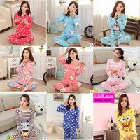 FreeShipping Cotton Women Pajamas Sets Cartoon Long Sleeve Sleepwear Women Nightwear Plus Size