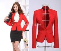 New Elegant Red 2014 Feminino Autumn Winter Women Blazer Coat Jackets Tops Blaser For Office Ladies Blazers Uniforms Plus Size