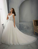 Free Shipping Latest A Line Wedding Dresses with Cap Sleeves and Beaded Sash