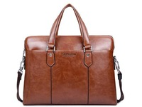 2014 New Men Genuine Leather Brown Briefcase Office  Handbags Messenger Bag Laptop Handbag Fashion Unique Design High Quality