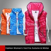 2014 autumn & winter vest for young girls,women's diamonds design thick candy color pure vest women waistcoat,down vest,MfL