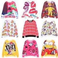 [Magic] 2014 hot wind western union style cartoon printing o neck women hoodies 12 different models good quality sweatshirts