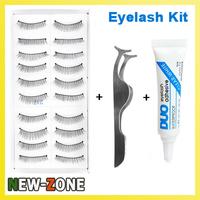 Makeup Flase Eyelash Makeup Kit 10 pairs false eyelash + Clip + Glue Natural Fake eyelash Style for Daily Use
