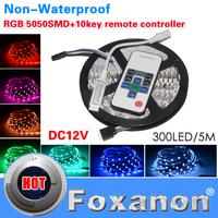 Foxanon Brand 5050 RGB Led Strip 60LED/M 300LED Lamps DC12V  Non waterproof +10key RF controller flexible light 5M/Roll