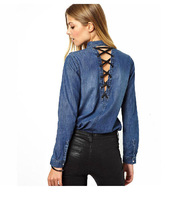 Autumn European Women's Fashion Punk Rivet Sexy Straps Backless Hollow Blue Long-Sleeved Casual Denim Shirt Blouse Top  XS-XXL