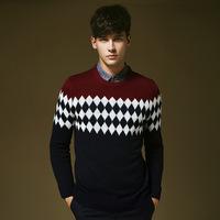 Free shipping Christmas Sweater Men O-neck Geometric Diamond Pattern Mens Sweaters Wholesale Winter Spring Autumn Pullover Men