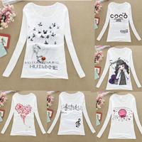 Womens Tops Fashion 2014 Cotton Casual Autumn t-shirts Women Round Neck Tops Tees Long sleeve Print All match Women T-shirts