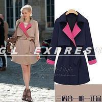 2014 Womens Fashion Long Sleeve Slim Double Breasted Coat Jacket
