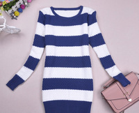 new arrived knitting sweater winter pullover women knit sweater women striped  jumpers/Korean striped sweater tops/WfL