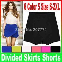 2014 Women 6 Candy Colors 5 Size S to XXL Women's Summer Fashion Chiffon Tiered Zipped-up Mini Shorts Pants joker divided Skirts