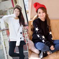 Preppy style 2014 autumn women's loose sweatshirt embroidered five-pointed star top thin sweatshirt female WF-660
